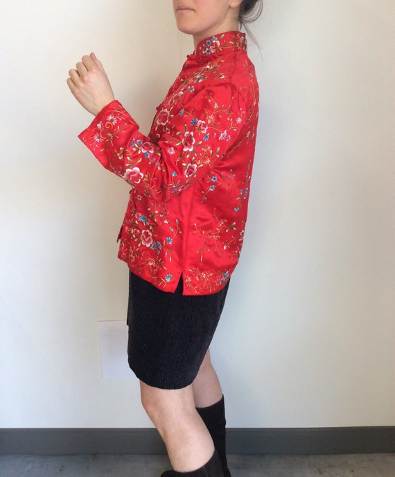 Silk embroidered jacket red silk jacket vintage em