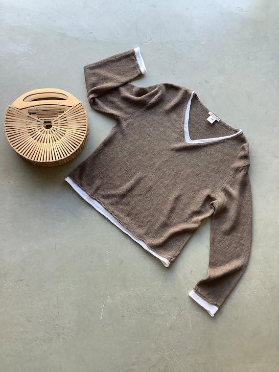 Vintage linen sweater linen top linen shirt boxy … - image 1