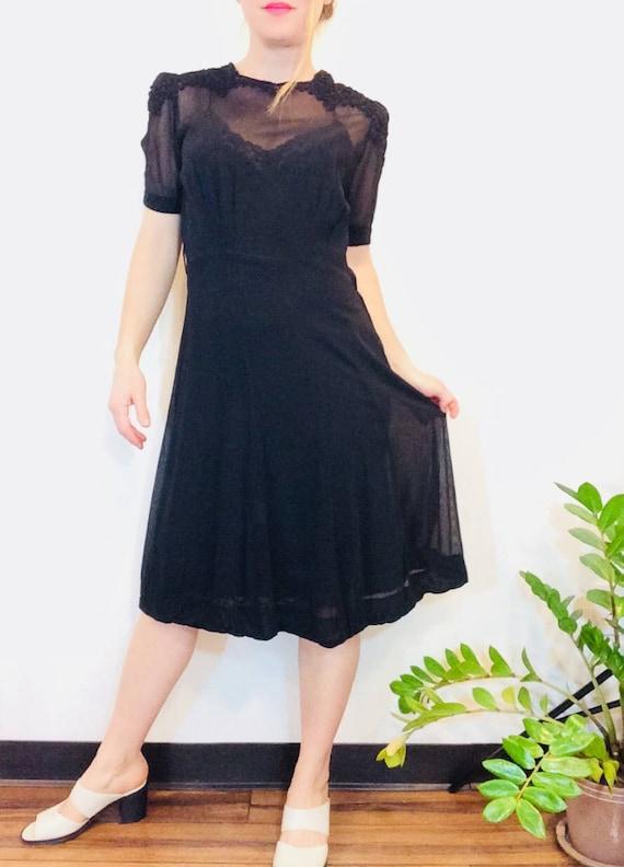 30s Black dress vintage 30s dress vintage black s… - image 2