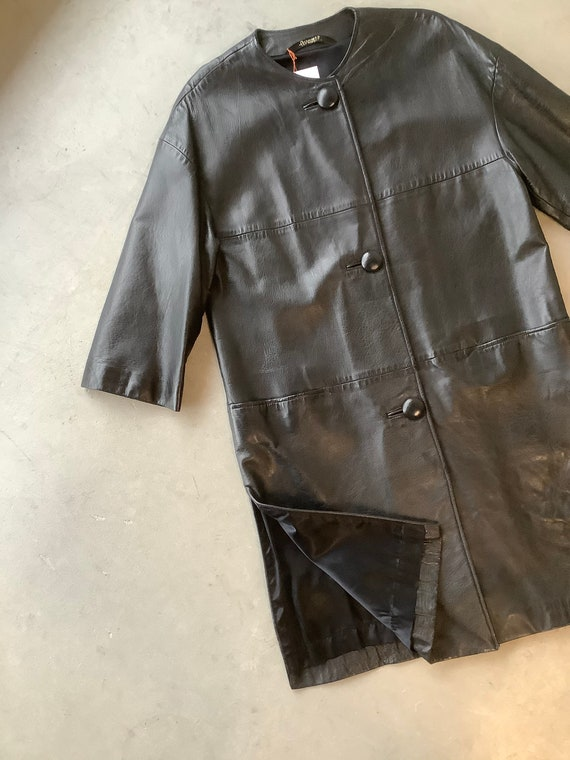 Vintage leather trench coat black leather trench … - image 2