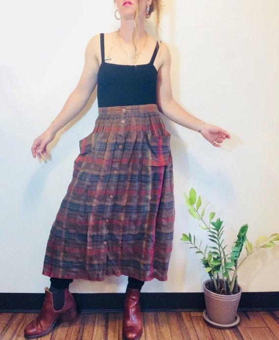 Pleated linen skirt plaid linen skirt linen midi s