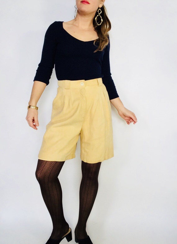 Vintage leather shorts vintage suede shorts Tan su