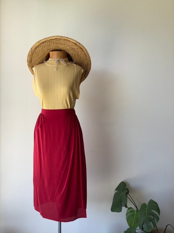 Red silk wrap skirt red silk skirt silk midi skirt