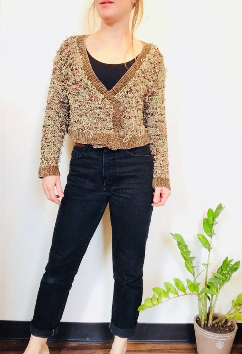 b6aface0e23 Chenille boxy cardigan vintage chenille sweater button up | Etsy