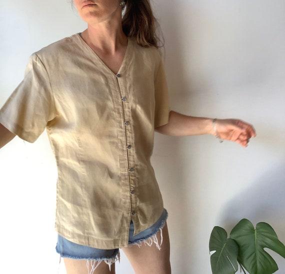 Vintage linen shirt vintage tan linen shirt boxy … - image 5