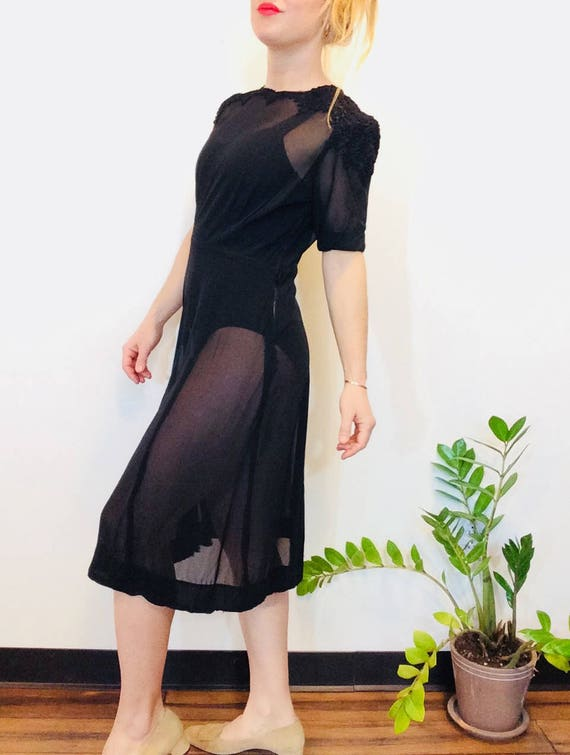 30s Black dress vintage 30s dress vintage black s… - image 4
