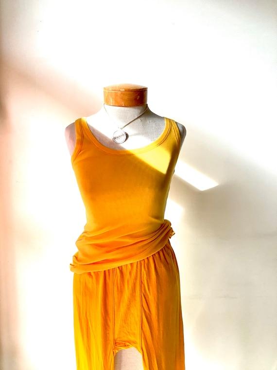 Jean Paul Gaultier Soleil tank top mesh yellow tan