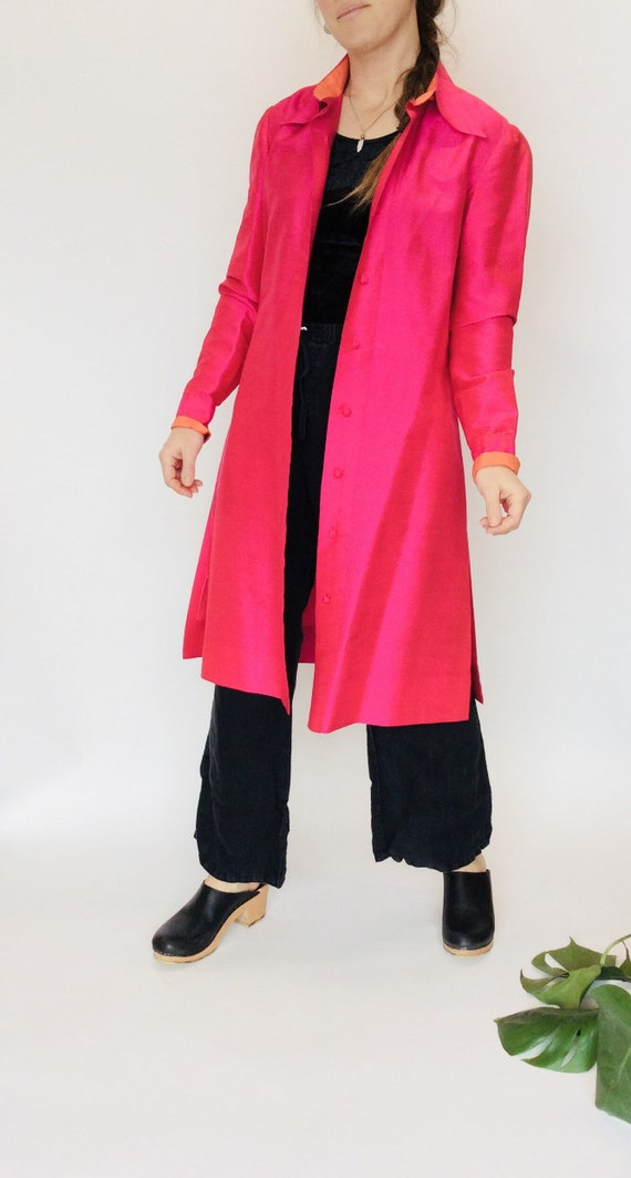 Pink Silk duster neon pink duster pink silk jacket