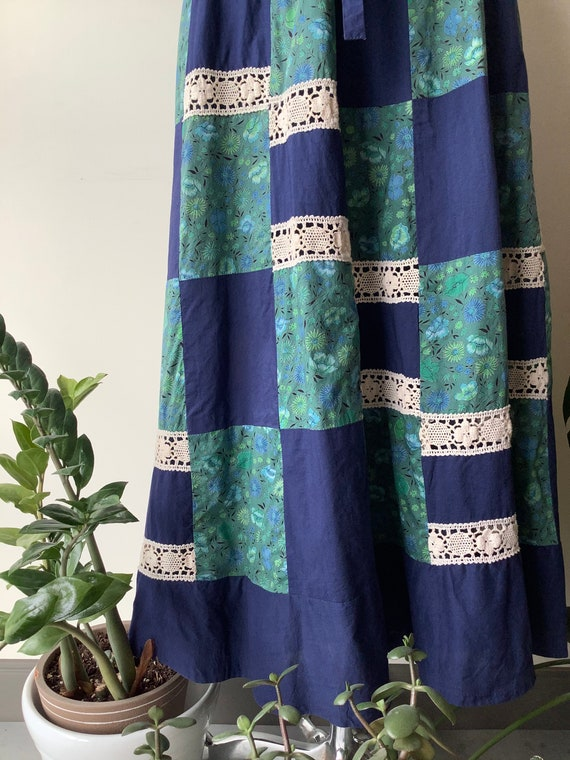 Patchwork maxi skirt 70s maxi skirt blue floral s… - image 4