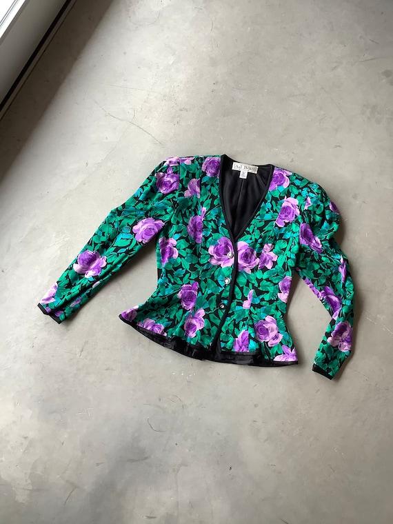 Silk jacket vintage peplum jacket 90 silk jacket r