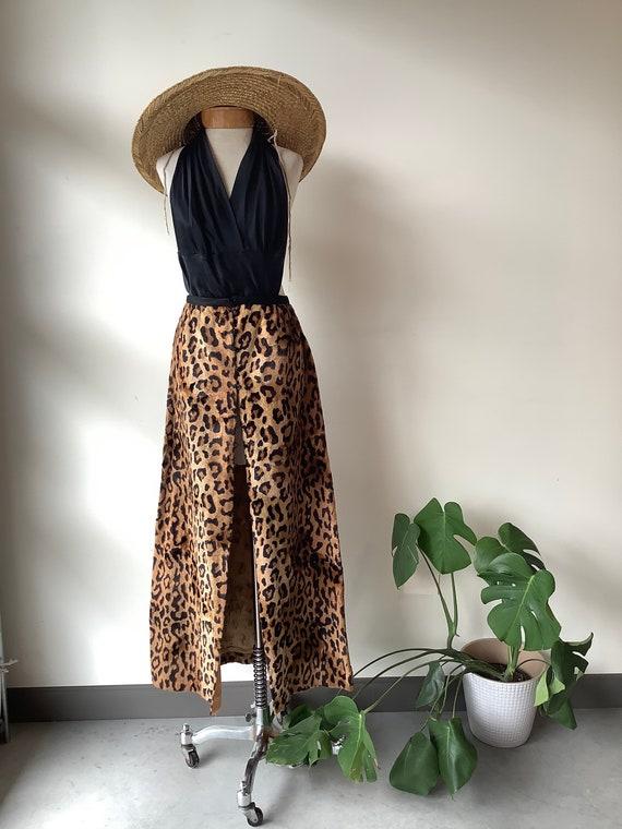 Cheetah maxi skirt vintage maxi skirt faux fur ski