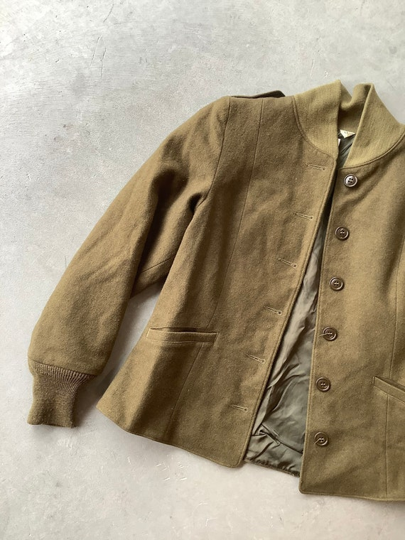 Cropped wool jacket Army wool jacket 40s jacket 50