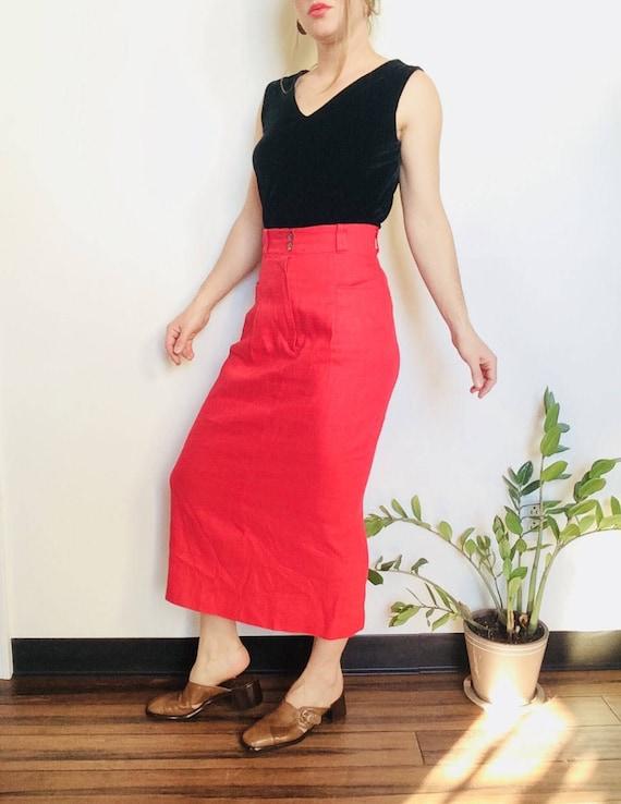 Vintage linen skirt linen midi skirt red skirt vin