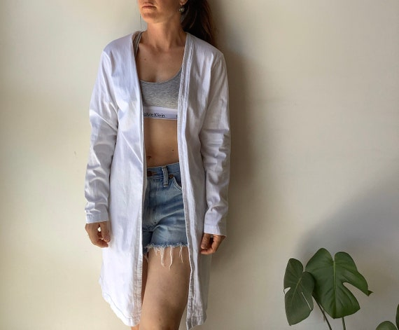 Vintage duster white duster jersey duster dress w… - image 1