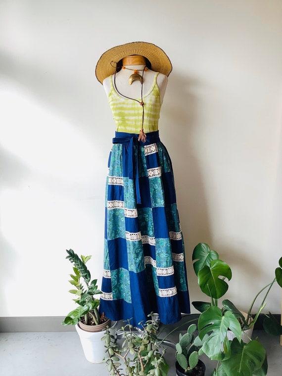 Patchwork maxi skirt 70s maxi skirt blue floral sk