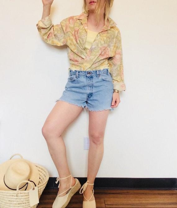 Vintage linen shirt vintage floral linen shirt bo… - image 1