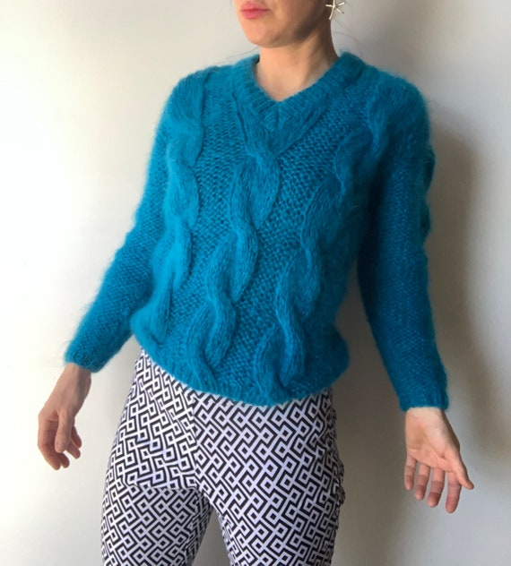 Mohair cable knit sweater blue mohair sweater Ital