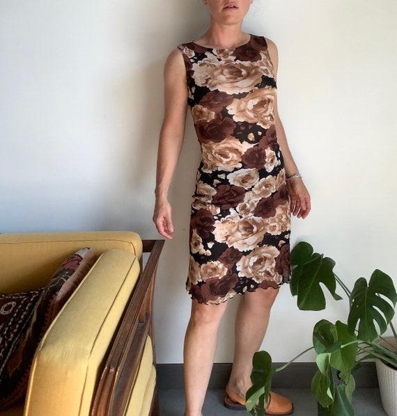 Vintage mesh dress sheer floral dress 90s sheer dr