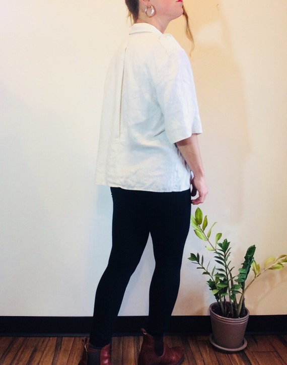 White linen shirt Vintage linen shirt white linen… - image 3