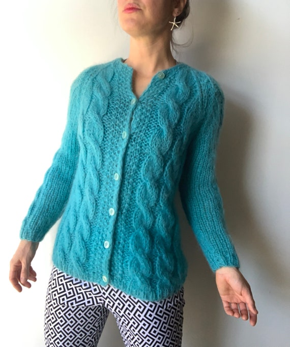 Mohair cardigan cable knit cardigan mohair sweater