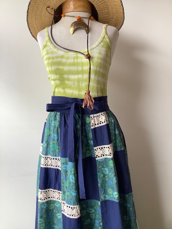 Patchwork maxi skirt 70s maxi skirt blue floral s… - image 2
