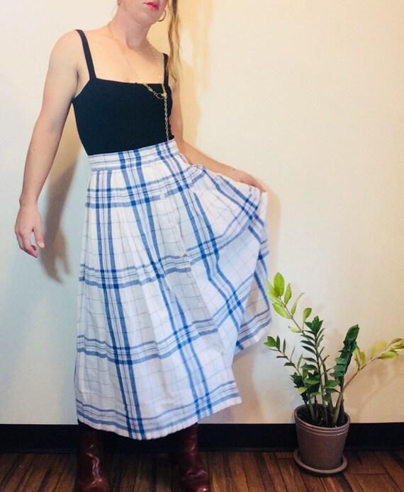Pleated maxi skirt plaid maxi skirt long pleated … - image 2