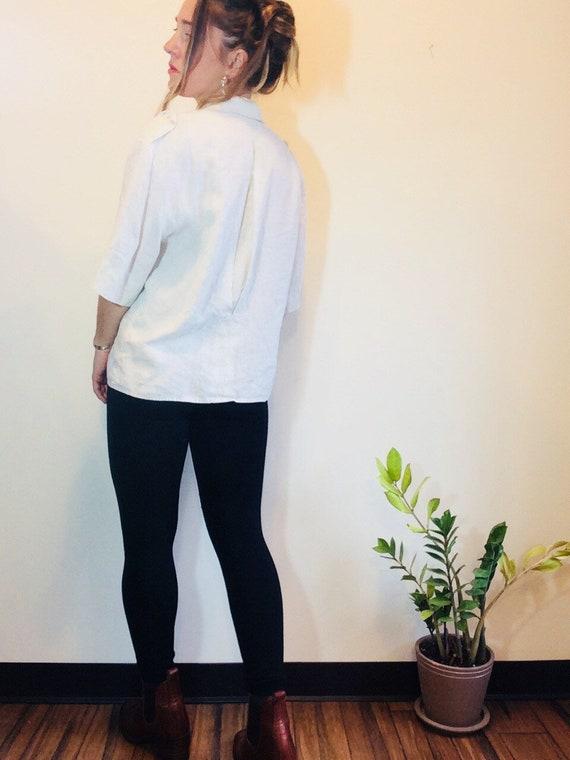 White linen shirt Vintage linen shirt white linen… - image 4