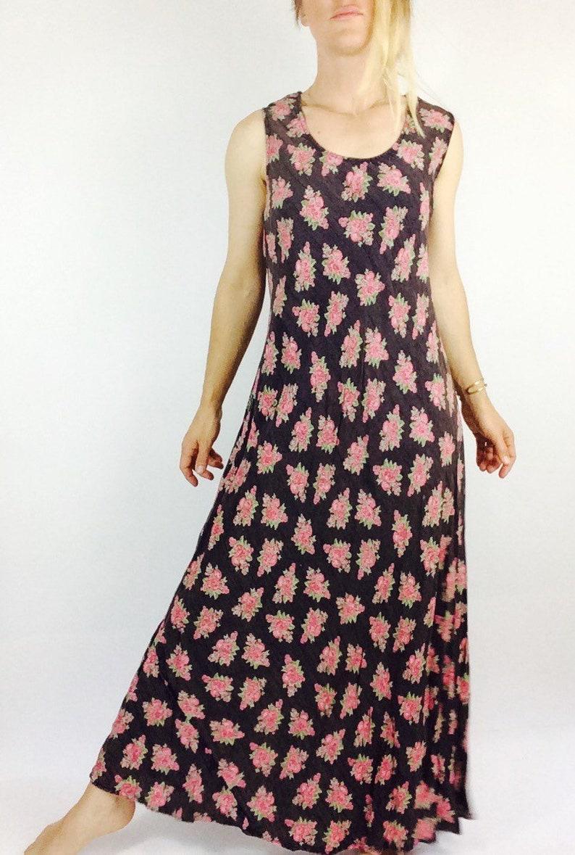 Florale Maxi Kleid Blumenkleid 14 14s langes Kleid Vintage-schwarzes Kleid  schwarzes Maxi Kleid blumig maxi Kleid lange schwarze Kleid lange florale