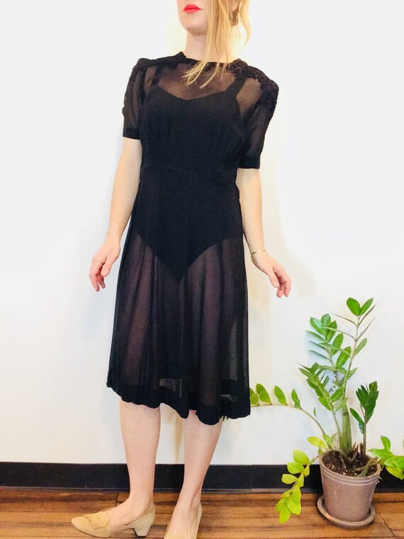30s Black dress vintage 30s dress vintage black s… - image 3