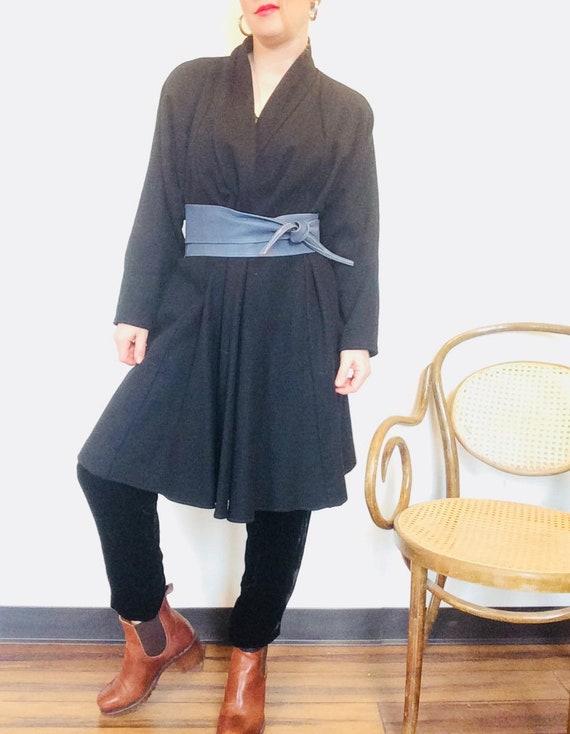 Black swing coat vintage black coat black wool coa