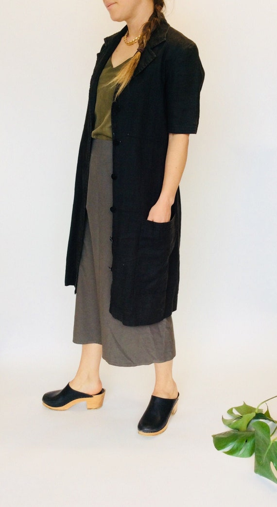 Black linen dress black linen duster dress linen m