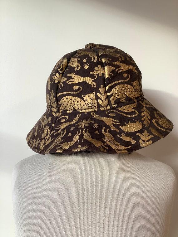 Vintage shearling hat black shearling hat shearlin