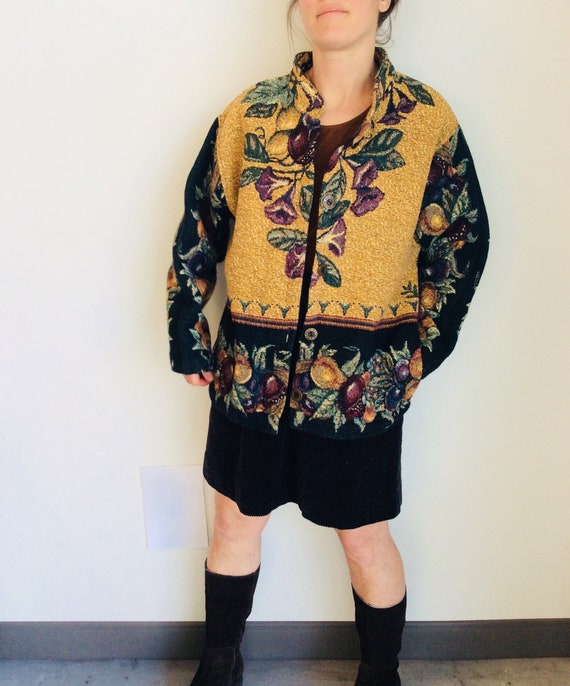 Tapestry jacket 80s jacket boxy jacket woven jacke