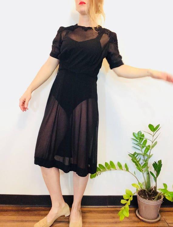 30s Black dress vintage 30s dress vintage black s… - image 7