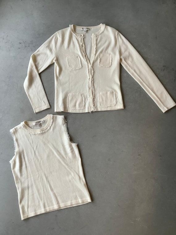 White cashmere sweater set cashmere cardigan sweat