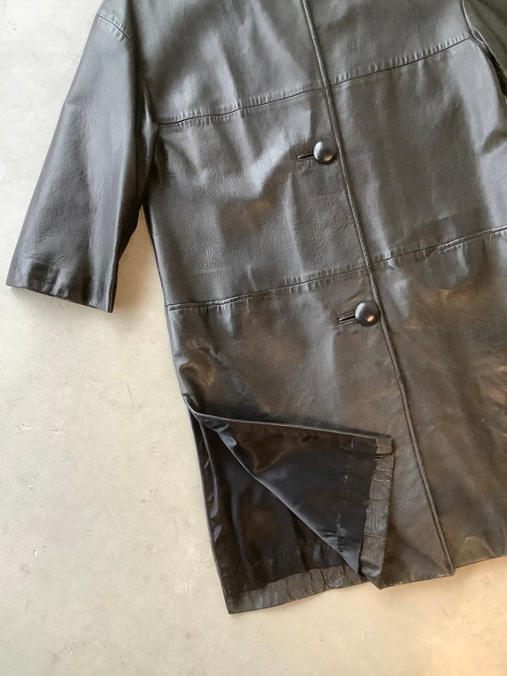 Vintage leather trench coat black leather trench … - image 3