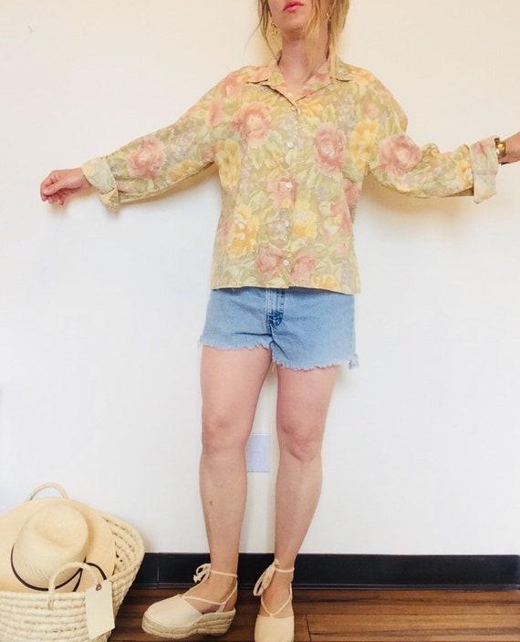Vintage linen shirt vintage floral linen shirt bo… - image 3