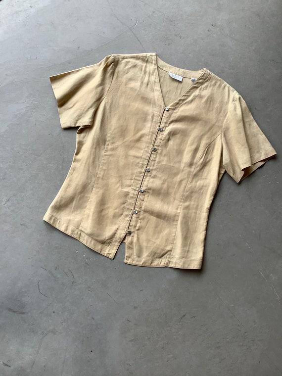 Vintage linen shirt vintage tan linen shirt boxy … - image 3
