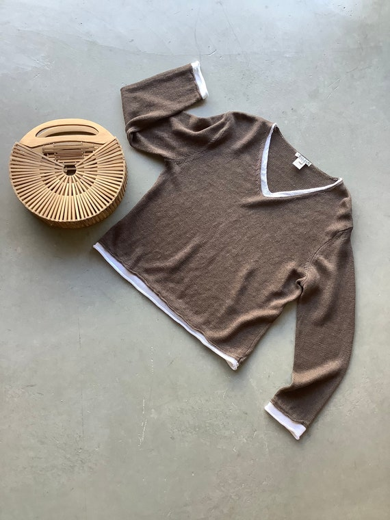 Vintage linen sweater linen top linen shirt boxy … - image 5