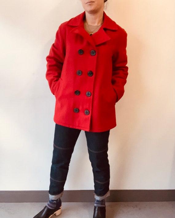 Johnson Woolen Mills Coat Red Wool peacoat red pea