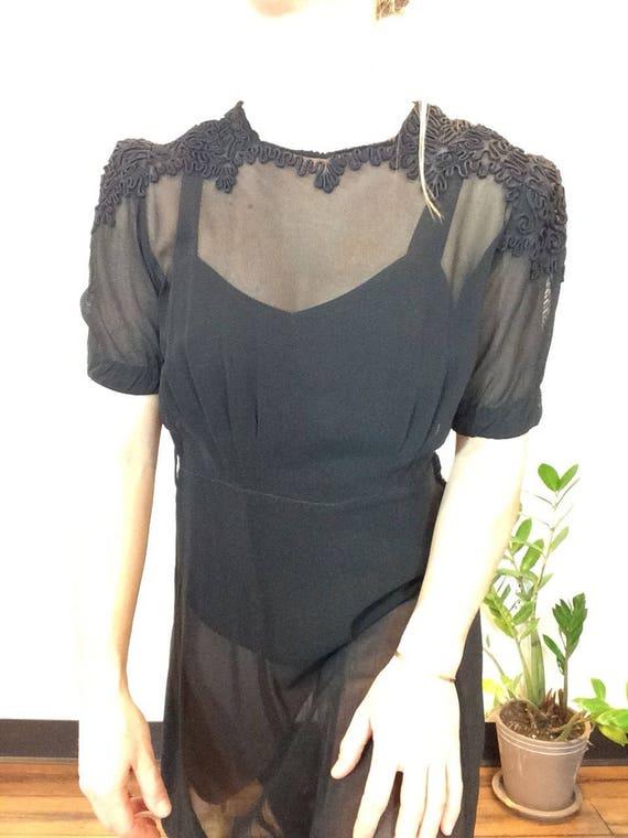 30s Black dress vintage 30s dress vintage black s… - image 6