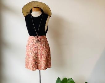 Vintage batik skirt short batik skirt vintage skirt high waisted skirt batik print pink skirt rayon skirt batik pink skirt batik pink mini