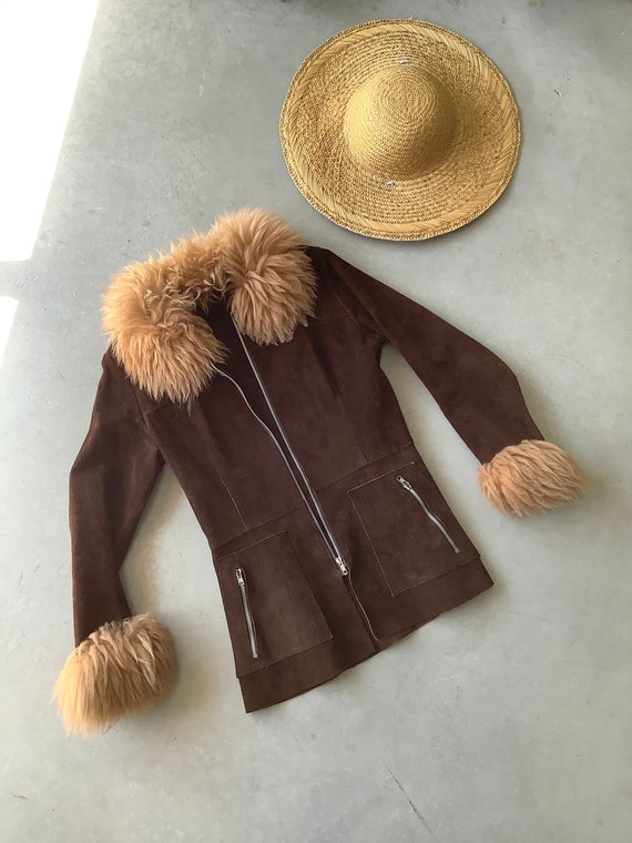 Vintage Shearling coat 70s suede and shearling coa