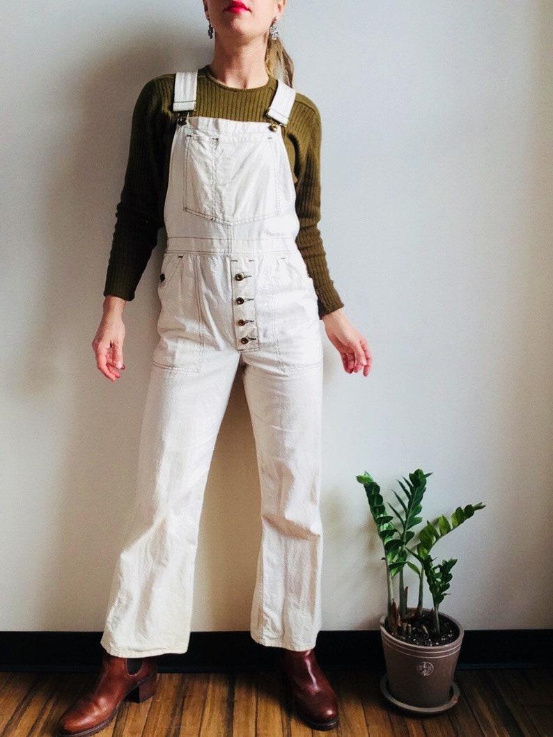 333fce9f0 Vintage white overalls white canvas overalls white painters