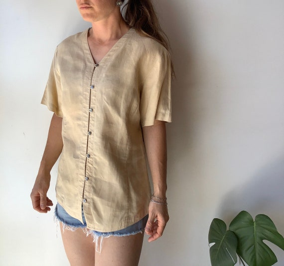 Vintage linen shirt vintage tan linen shirt boxy … - image 1
