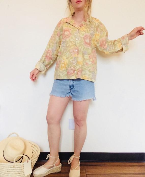 Vintage linen shirt vintage floral linen shirt bo… - image 4