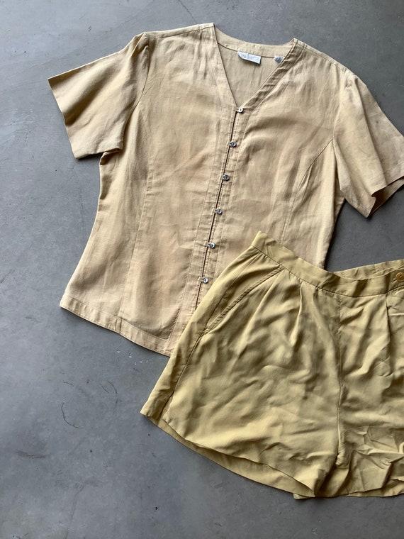 Vintage linen shirt vintage tan linen shirt boxy … - image 2