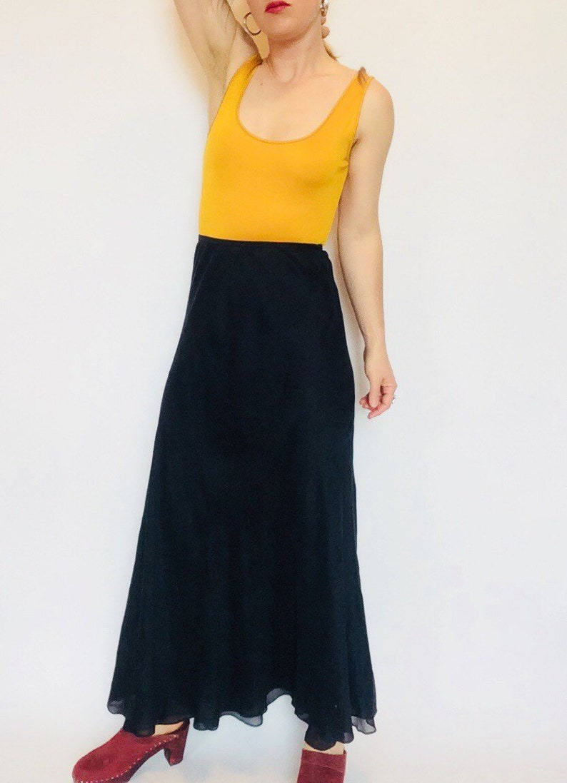 c462924b3 Black silk skirt black silk maxi skirt black maxi Vintage Calvin Klein  Collection skirt silk high waisted skirt black maxi skirt long silk