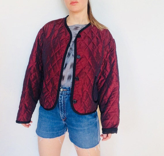 Vintage quilted coat vintage boxy coat quilted jacket vintage quilted boxy  jacket quilted cropped jacket cropped boxy jacket maroon quilted