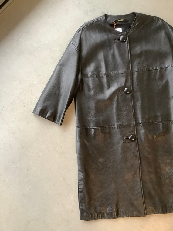 Vintage leather trench coat black leather trench … - image 5